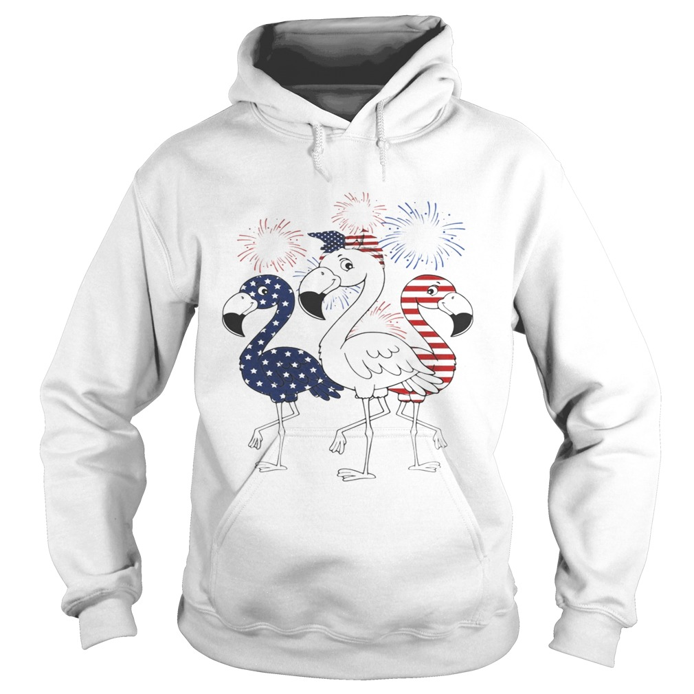 Flamingo 4th of July independence day American flag fireworks Hoodie