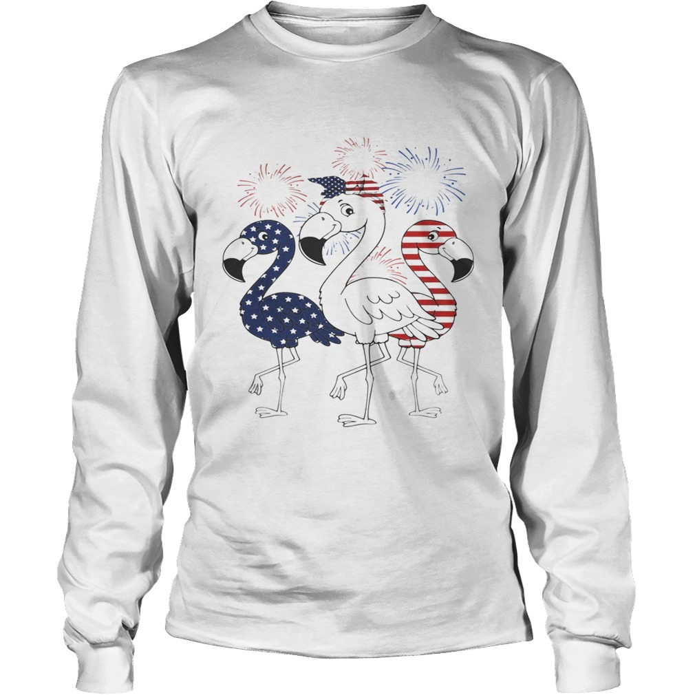 Flamingo 4th of July independence day American flag fireworks LongSleeve