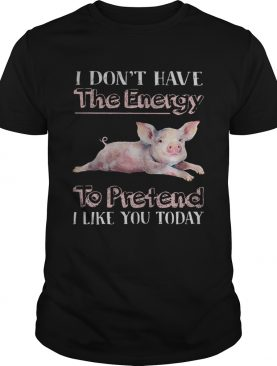 Pig I dont have the energy to pretend i like you today shirt