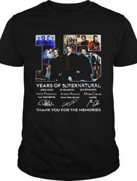 15 years of Supernatural thank you for the memories signatures shirt