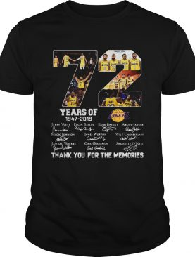72 years of Los Angeles Lakers 19472019 signatures shirt