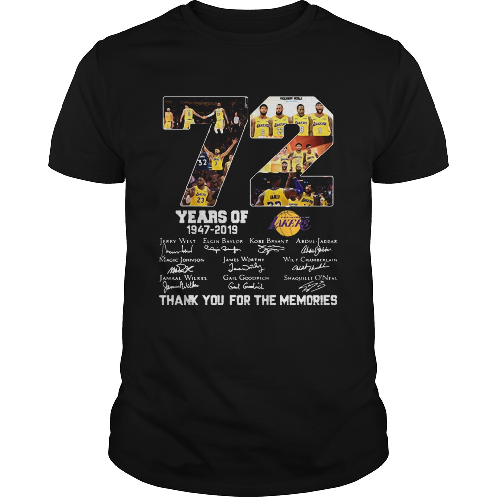 72 years of Los Angeles Lakers 19472019 signatures Unisex