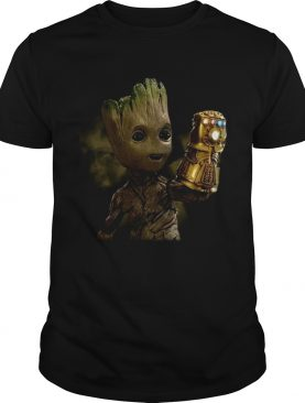 Baby Groot wearing infinity gauntlet shirt