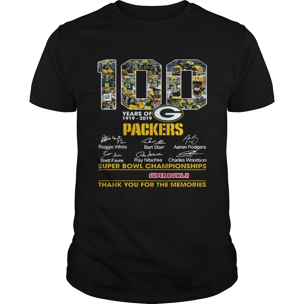 new style 63bde 04aa2 Green Bay Packers 100th anniversary 19192019 signature shirt