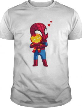 Lovely Spider Man Hug baby Iron Man shirt