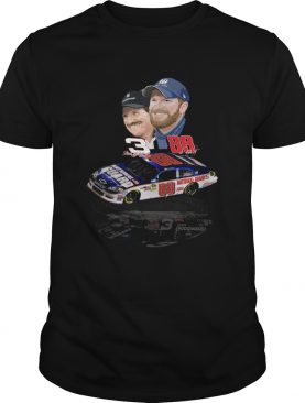 Dale Earnhardt Jr and Dale Earnhardt Sr with cars shirt