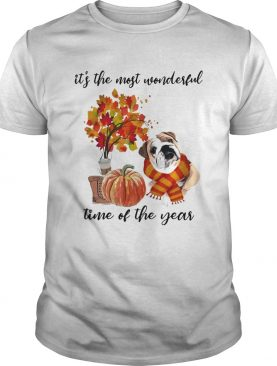 Bulldog Its The Most Wonderful Time Of The Year Fall Autumn Maple Leaf Shirt