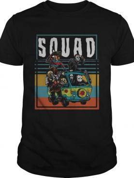 Horror characters on the hippie van squad shirt