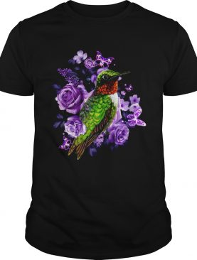 Hummingbird and purple rose flower shirt