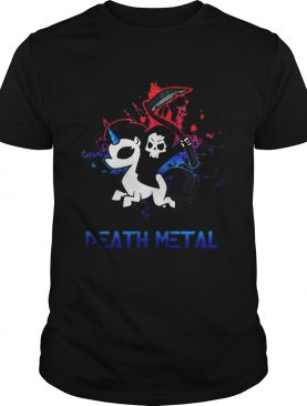 Skeleton riding death metal unicorn shirt