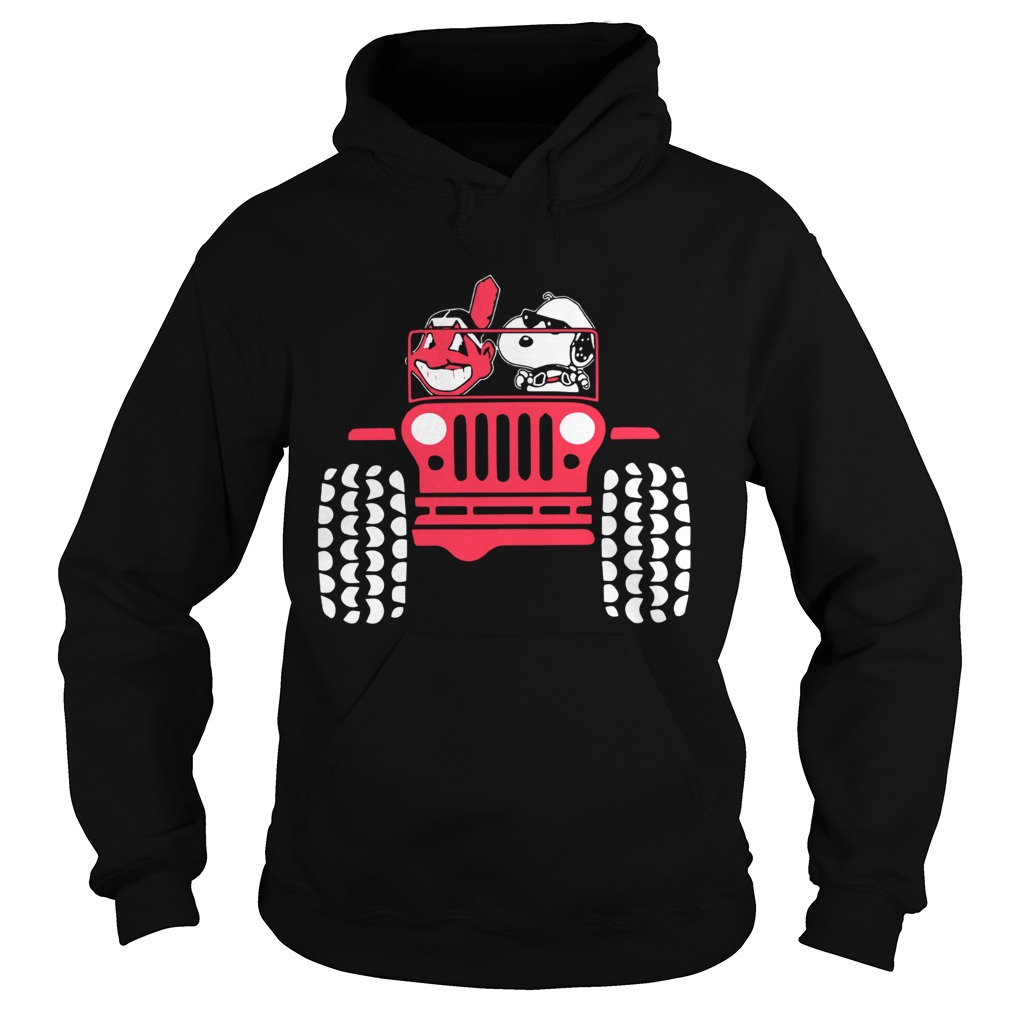 Snoopy and Cleveland Indians driving Jeep Hoodie