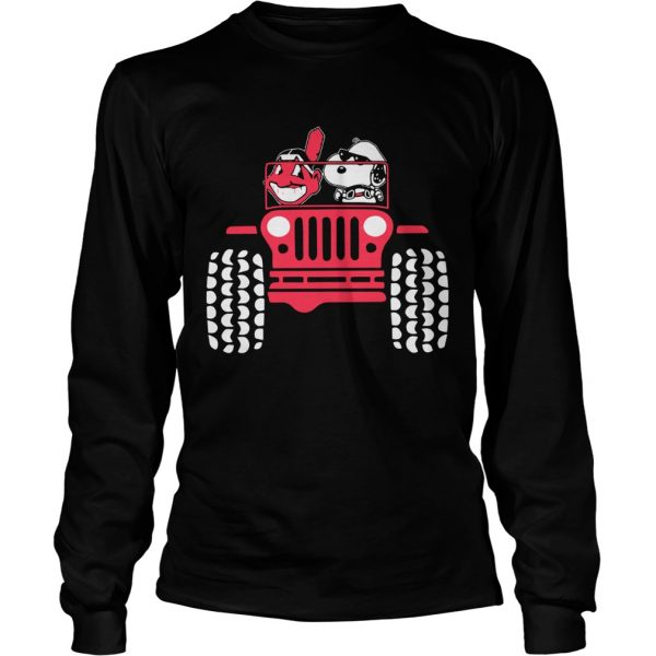 Snoopy and Cleveland Indians driving Jeep  LongSleeve