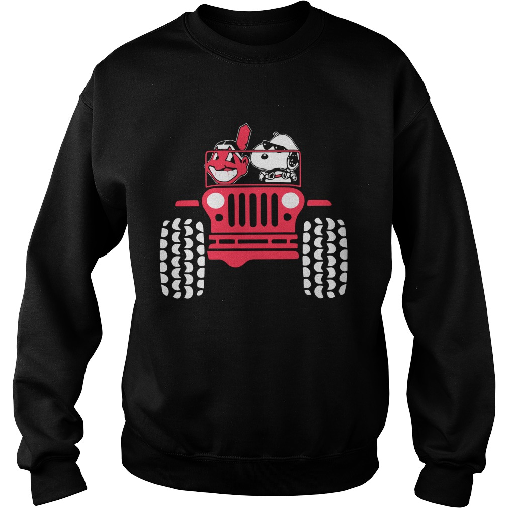 Snoopy and Cleveland Indians driving Jeep Sweatshirt