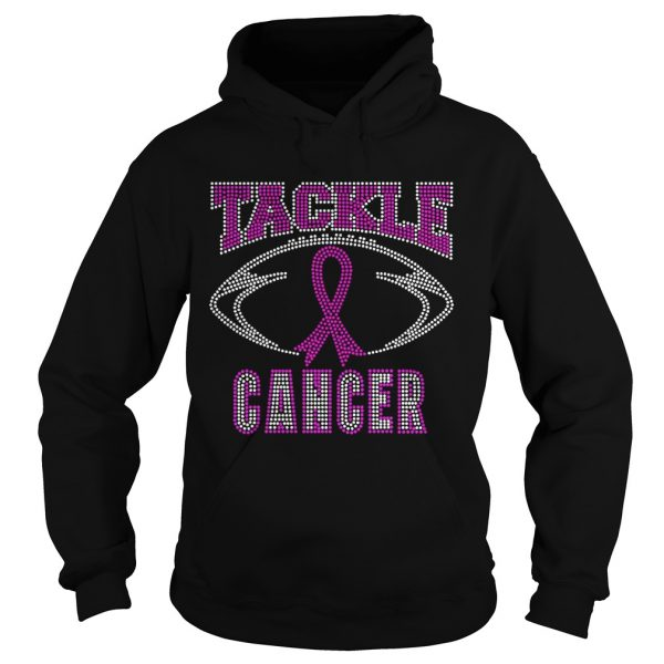 Breast cancer awareness rhinestone tackle football  Hoodie