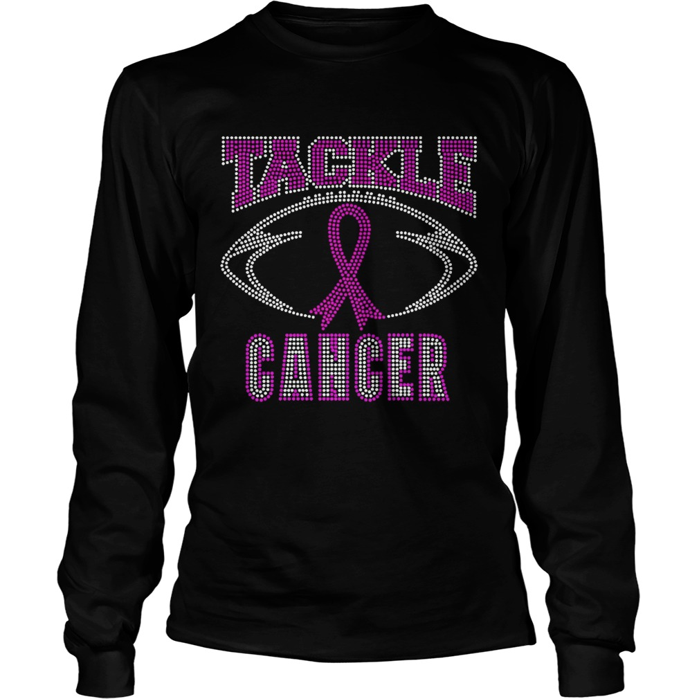 Breast cancer awareness rhinestone tackle football  LongSleeve