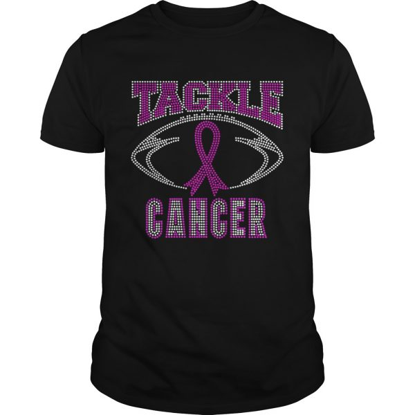 Breast cancer awareness rhinestone tackle football  Unisex