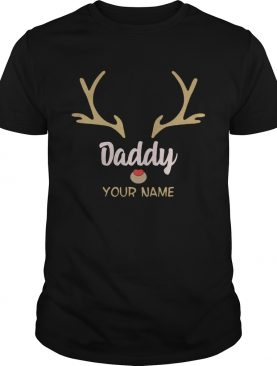 Custom Name Daddy Rudolph Reindeer Family Christmas TShirt