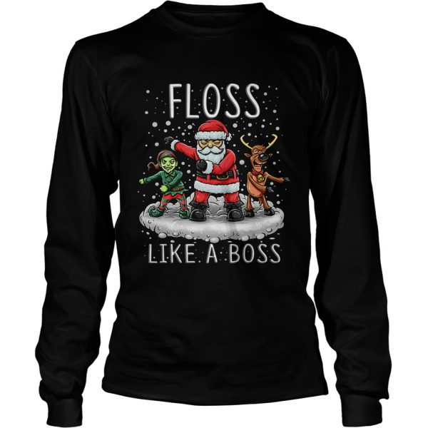 Floss Like A Boss Santa Floss Funny Christmas T Shirt LongSleeve