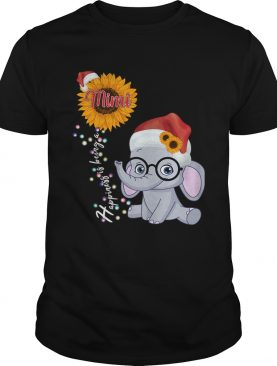 Happiness Is Being A Mimi Sunflower Elephant Christmas TShirt