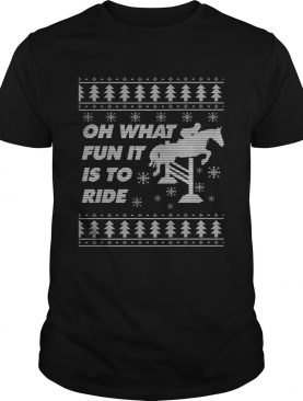 Horse Ugly Christmas Equestrian Jumping Show TShirt