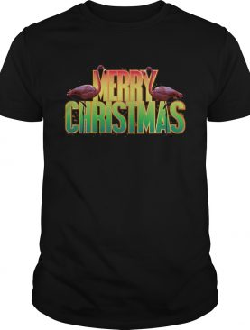 Merry Christmas Pink Flamingo Holiday Graphic Shirt