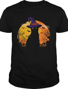 Nice Vintage Scary Costume Halloween Black Cat Witch Hat Moon shirt