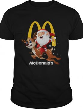 Santa Claus riding reindeer McDonalds shirt