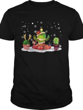 Succulent Cactus Snow Merry Christmas TShirt