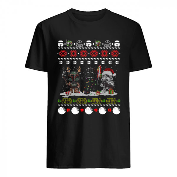 Darth Vader R2D2 Boba Fett chibi ugly christmas  Classic Men's T-shirt