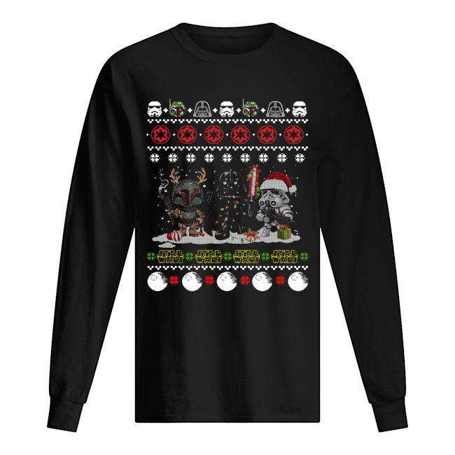 Darth Vader R2D2 Boba Fett chibi ugly christmas  Long Sleeved T-shirt