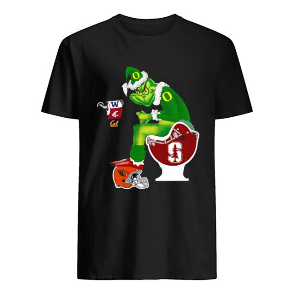 Grinch Santa Sitting Stanford Cardinal Toilet Oregon State Beavers California Golden Bears Washington Huskies Washington State Cougars  Classic Men's T-shirt
