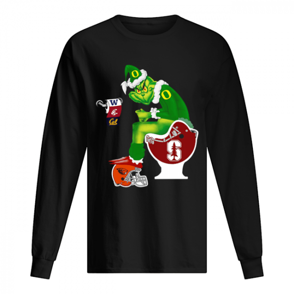 Grinch Santa Sitting Stanford Cardinal Toilet Oregon State Beavers California Golden Bears Washington Huskies Washington State Cougars  Long Sleeved T-shirt