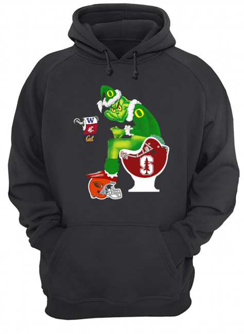 Grinch Santa Sitting Stanford Cardinal Toilet Oregon State Beavers California Golden Bears Washington Huskies Washington State Cougars  Unisex Hoodie