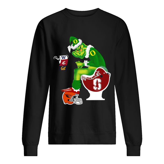 Grinch Santa Sitting Stanford Cardinal Toilet Oregon State Beavers California Golden Bears Washington Huskies Washington State Cougars  Unisex Sweatshirt