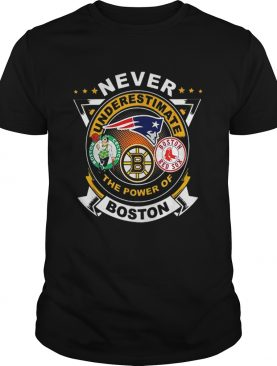 Never underestimate Patriots Celtics Bruins the power of Boston shirt