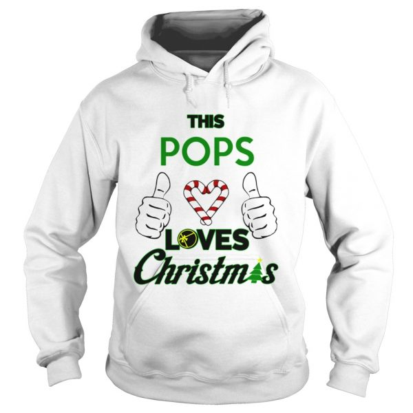 This Pops Loves Christmas Cool Fun Dad Grandparent Holiday  Hoodie