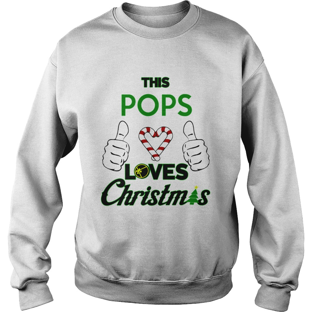 This Pops Loves Christmas Cool Fun Dad Grandparent Holiday  Sweatshirt