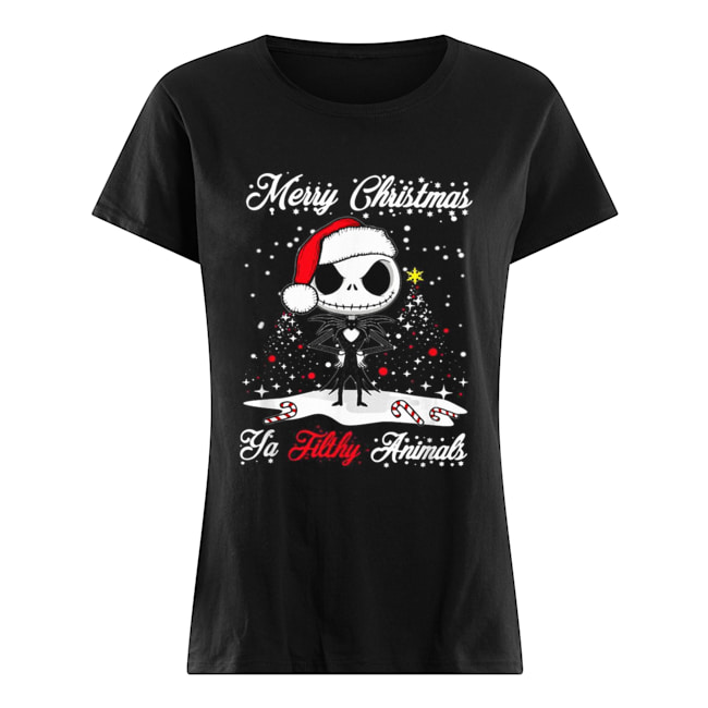 Jack Skellington Merry Christmas Ya filthy animals Christmas  Classic Women's T-shirt