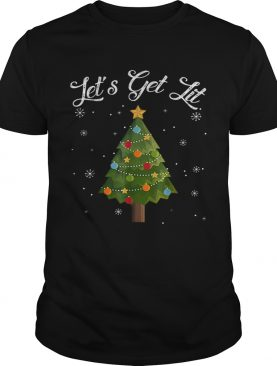 Nice Lets Get Lit Christmas Tree Funny Drinking shirt