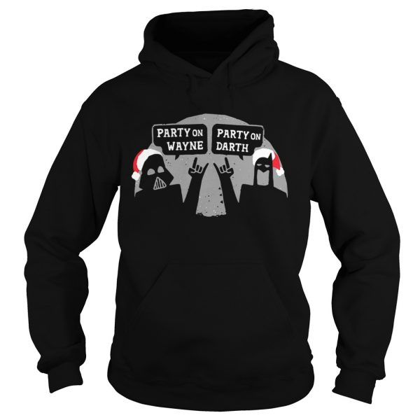 Star Wars and Bat Man party on Wayne party on Darth Christmas  Hoodie