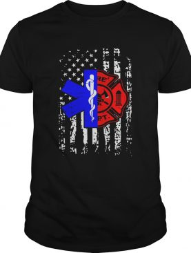 Nurse EMT and Firefighter American Flag shirt
