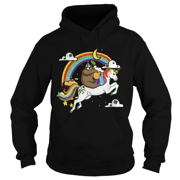 St Patricks Day Sloth on a Unicorn  Hoodie