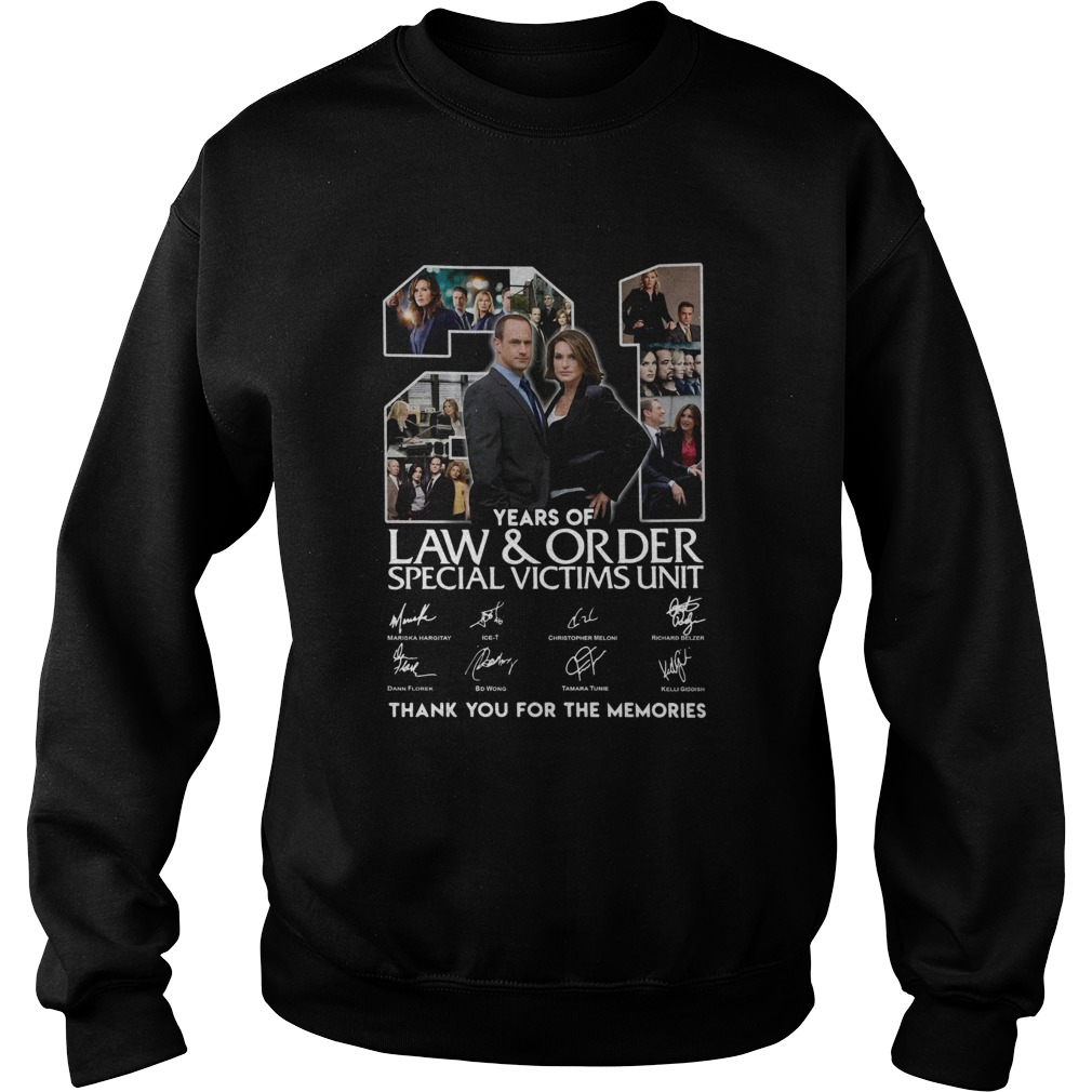 21 Years Of Law And Order Special Victims Unit Thank You For The Memories Signatures  Sweatshirt