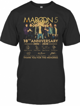 Maroon 5 18Th Anniversary 2002 – 2020 Signatures Thank You For The Memories T-Shirt