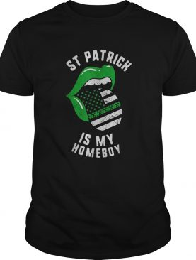 Pretty St Patrick Is My Homeboy Green Lips Usa Flag Shamrock Day shirt