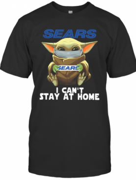 Baby Yoda Face Mask Sears Can't Stay At Home T-Shirt