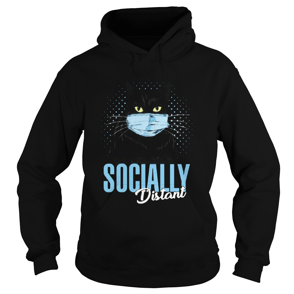 Black Cat Face Mask Socially Distant  Hoodie