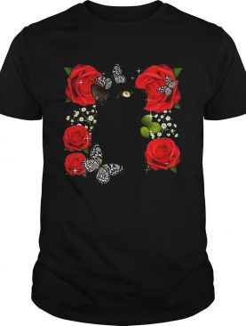Black Cat Rose Flowers Butterfly shirt