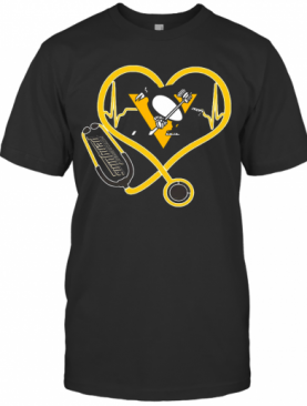 Nurse Stethoscope Love Heartbeat Pittsburgh Penguins T-Shirt
