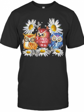Owl And Daisy Flower T-Shirt